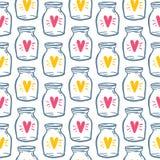 Garrafa do amor do teste padrão de matéria têxtil com coração Imagens de Stock Royalty Free