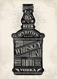 Garrafa do cartaz do álcool com rotulação tirada mão ilustração royalty free
