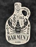 Garrafa do cartaz do álcool com rotulação tirada mão ilustração do vetor