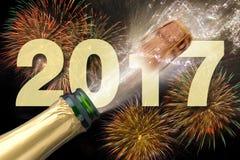 Garrafa do champanhe com cortiça de estalo Foto de Stock Royalty Free