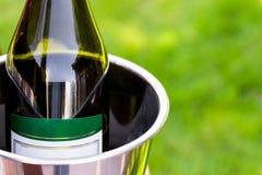 Garrafa do champanhe na cubeta de gelo fora com gramado do verde do bokeh no fundo Imagens de Stock Royalty Free