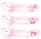 Garrafa do perfume, grupo de bandeiras Fotografia de Stock