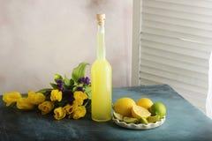 Garrafa do suco caseiro com gengibre e limão no fundo claro imagens de stock