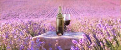 Garrafa do vinho contra a alfazema fotos de stock royalty free