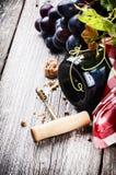 Garrafa do vinho tinto com uva fresca Foto de Stock Royalty Free