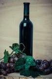 Garrafa do vinho tinto e das uvas no fundo de madeira Fotografia de Stock Royalty Free