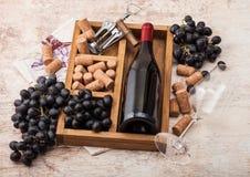 Garrafa do vinho tinto e do vidro vazio com as uvas escuras com corti?a e abridor dentro da caixa de madeira do vintage no fundo  imagens de stock