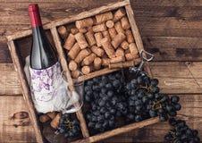 Garrafa do vinho tinto e do vidro vazio com as uvas escuras com corti?a e abridor dentro da caixa de madeira do vintage no fundo  imagens de stock royalty free