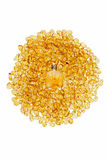 Garrafa do vintage e pedras ambarinas amarelas Fotografia de Stock Royalty Free