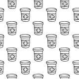 A garrafa e as tabuletas tiradas da droga do teste padrão mão sem emenda rabiscam Sket ilustração royalty free