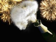 Garrafa e cortiça de Champagne com fogo de artifício leve Imagem de Stock Royalty Free