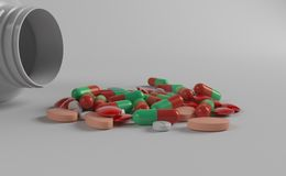 Garrafa e medicinas da medicina fotografia de stock