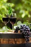 A garrafa e o vidro de vinho tinto wodden sobre o tambor fotografia de stock