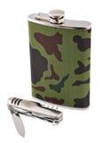 Garrafa e penknife do metal Fotos de Stock Royalty Free