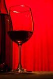 Garrafa e vidro de vinho Fotografia de Stock