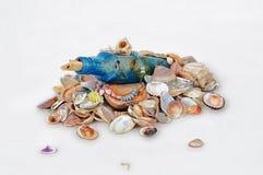 Garrafa em conchas do mar Foto de Stock