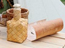 Garrafa feita da casca de vidoeiro Imagem de Stock Royalty Free