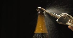 Garrafa fria de abertura da cerveja com abridor de garrafa Gotas do condensado e da ?gua imagens de stock