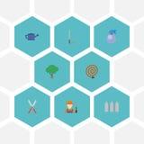 Garrafa lisa do pulverizador dos ícones, lata molhando, madeira verde e outros elementos do vetor Grupo de símbolos lisos de jard Fotografia de Stock Royalty Free