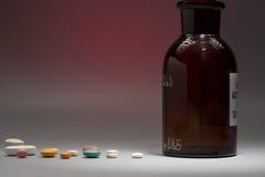 Garrafa médica de vidro com espaço da cópia imagem de stock