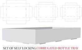 A garrafa ondulada Tray Template, vetor com cortado/laser cortou camadas Bandeja de envio ondulada, grupo de três projetos difere ilustração royalty free