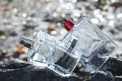 Garrafa três do perfume Fotografia de Stock Royalty Free