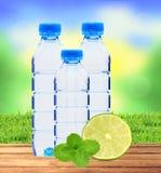 Garrafas azuis com água, a erva da hortelã e cal verde fresco sobre nat Fotografia de Stock Royalty Free