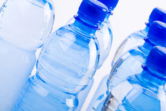 Garrafas azuis da água Foto de Stock Royalty Free