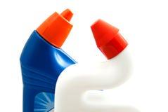 Garrafas azuis e brancas no branco Imagem de Stock