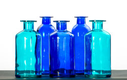 Garrafas azuis e verdes Foto de Stock Royalty Free