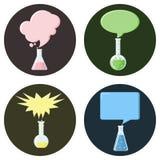 Garrafas com as bolhas do discurso ajustadas dos ícones Foto de Stock