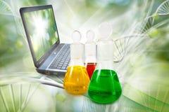 garrafas com líquido e portátil no fim do laboratório acima Imagem de Stock