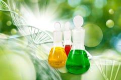 garrafas com líquido no fim do laboratório acima Fotografia de Stock Royalty Free