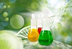 garrafas com líquido no fim do laboratório acima Fotos de Stock Royalty Free