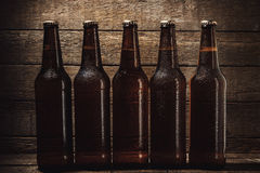 Garrafas da cerveja fria Fotografia de Stock Royalty Free