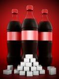 Garrafas da cola com lotes de cubos do açúcar ilustração royalty free