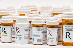 Garrafas da medicina da prescrição de Rx Imagem de Stock