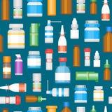 Garrafas da medicina dos desenhos animados para o teste padrão do fundo das drogas Vetor ilustração royalty free