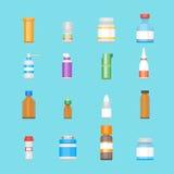 Garrafas da medicina dos desenhos animados para os ícones da cor das drogas ajustados Vetor ilustração royalty free