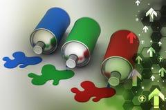 Garrafas da pintura da cor do Rgb Foto de Stock
