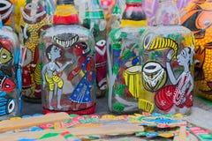 Garrafas da terracota, artesanatos indianos justos em Kolkata Imagem de Stock Royalty Free