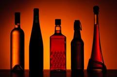 Garrafas de bebidas alcoólicas Fotografia de Stock Royalty Free