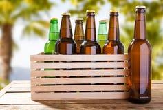 Garrafas de cerveja do ofício na tabela de madeira no fundo tropical borrado fotos de stock royalty free