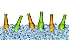 Garrafas de cerveja no gelo Ilustra??o real?stica do vetor ilustração do vetor