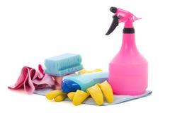 Garrafas de líquidos de limpeza do líquido e da cozinha da lavagem da louça no branco Fotos de Stock