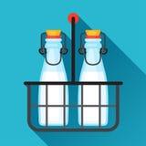 Garrafas de leite da ilustração e portador do fio no plano ilustração royalty free
