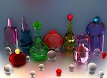 Garrafas de perfume coloridas Fotografia de Stock Royalty Free