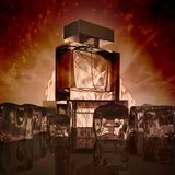Garrafas de perfume no fundo do marrom escuro com reflexão imagens de stock royalty free