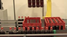 Garrafas de soda robóticos amarelas do braço vídeos de arquivo