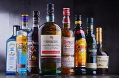 Garrafas de tipos globais sortidos do licor duro Imagem de Stock Royalty Free